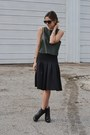 Army-green-crop-zara-top-black-midi-asos-skirt