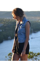 black Urban Outfitters romper - light blue vintage vest