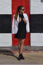 black Chanel boots - black Topshop dress