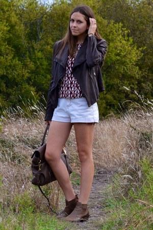 dark brown leather andrew marc jacket - white vintage shorts