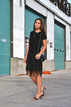 black fringe Mango dress - black Chanel bag