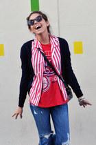 ruby red striped vintage shirt - navy Zara cardigan