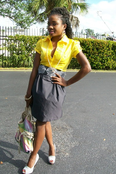 Bright Yellow Blouses Bags Skirts Gray Heels Belts  &quotBold