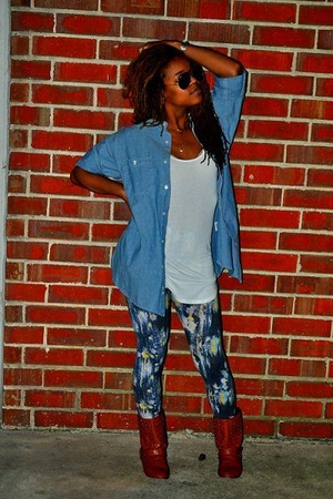 floral tights BDG tights - Forever 21 boots - wal-mart shirt