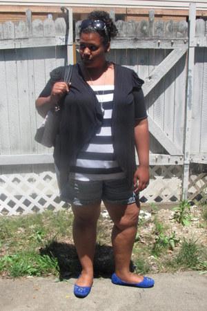 striped Deb Shop shirt - blue denim Deb Shop shorts - black crochet back thrifte