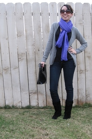James Perse shirt - J Crew sweater - J Brand jeans - Chinese Laundry boots - J C