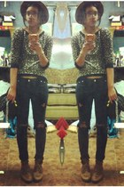 brown rim hat Zara hat - Goodwill jeans - leopard top Forever 21 top