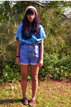 blue top - shorts - brown loafers