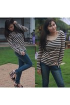 crissa jeans - striped Mango sweater - vnc wedges