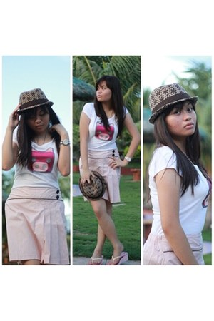 sm department store hat - cute printed giordano shirt - kashieca shorts - pink H