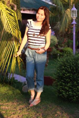 Bayo blouse - blue folded Plains&Prints pants - Celine sandals