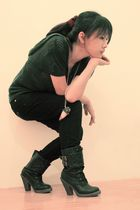 281f05fcccaa7e blue Sparkle Shop blouse - black pants - black Sparkle Shop boots - brown  access