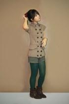 tan Sparkle Shop dress - dark green Bazaar shorts - green Forever 21 tights - da