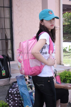 sky blue hat - bubble gum Greenhills bag - white Gift Gate blouse