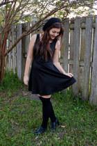 black Forever 21 dress - black Target hat - black thrifted heels