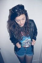 black faux leather jacket - black aerosmith shirt - blue high waisted shorts