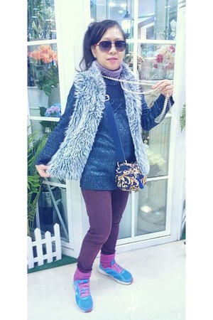 amethyst purple cotton on leggings - navy pattern Carlo Fashion bag