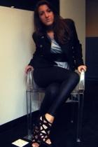 Club Monaco blazer - BOUGHT IN ITALY belt - Zara dress - American Apparel leggin