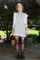 gray DIY dress - black combat docs Dr Martens boots - gold loop accessories