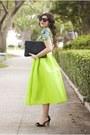 Chartreuse-sheinside-skirt