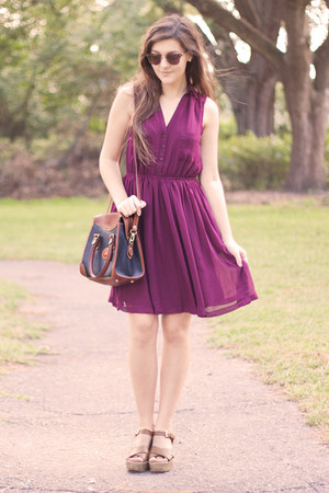 magenta Forever 21 dress - navy thrifted vintage dooney and bourke bag