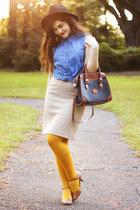 camel thrifted skirt