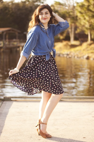 navy polka dot thrifted skirt