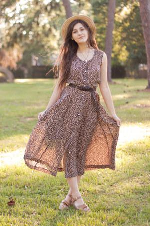 dark brown floral thrifted dress - beige cork Target wedges