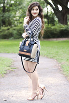 black nicole lee bag - black striped Urban Outfitters dress