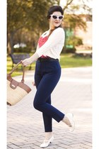 navy high waisted Boohoo pants - ivory knit Forever 21 cardigan