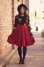 Ruby-red-olive-clothes-skirt-black-cat-print-olive-clothes-cardigan