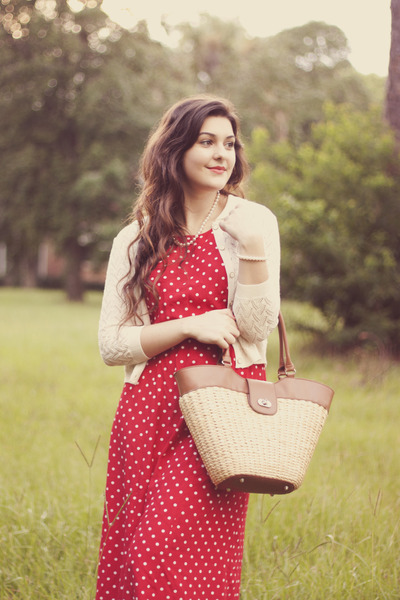 ruby red polka dot thrifted dress