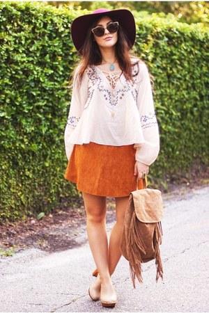 bronze suede Boohoo skirt