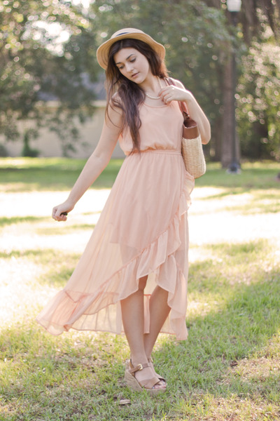 light pink maxi Marshalls dress - tan straw thrifted bag