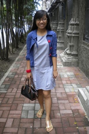 blue thrifted blazer - gray unbranded dress - red homemade accessories - gold un
