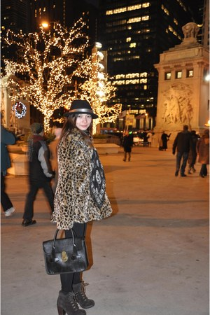 black Alexander McQueen scarf - dark brown boots - black H&M hat