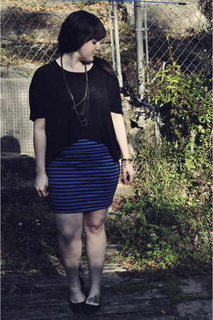 black Urban Outfitters top - gold lotus necklace - blue Target skirt