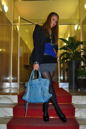 blue Mango dress - Zara jacket - balenciaga bag - Alexander McQueen bracelet