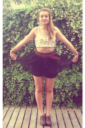 white polka dots Stradivarius skirt - navy vintage Bershka top