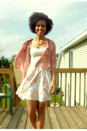 neutral floral print H&M dress - light pink sheer Forever 21 blouse