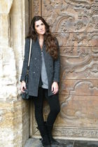 gray Zara coat - Zara leggings - Parfois boots