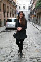 gray Zara leggings - gray Mango shoes - gray Zara coat