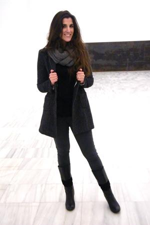 black Zara coat - Parfois boots - H&M scarf