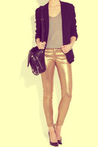 gold pants - black coat - black bag - silver t-shirt - black heels