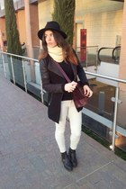 black Zara boots - black Bershka coat - black Zara hat - crimson Zara bag
