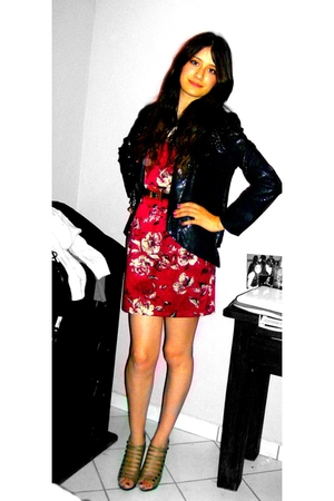 black Charlotte Russe blazer - red Charlotte Russe dress - beige Luxe boots - bl