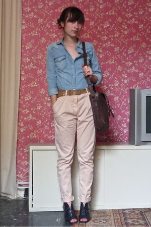 blue Camilla Norrback shoes - pink Zara pants - blue Zara shirt - brown pieces p