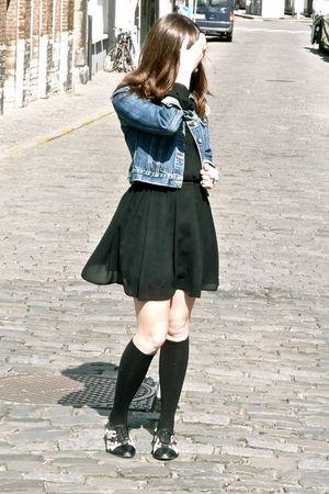 black vintage dress - black Jeffrey Campbell shoes - black Bonnie Doon stockings