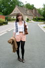 Orange-vintage-shorts-white-cos-top-beige-h-m-coat-brown-unknown-shoes-w