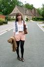 Orange-vintage-shorts-white-cos-top-beige-h-m-coat-brown-unknown-shoes-w